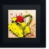 Roderick Stevens 'Flower Purse Red on Yellow' Matted Black Framed Art