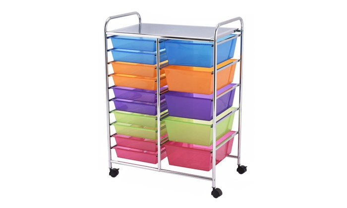 ... Perfect 15 Drawer Rolling Storage Cart Tools Scrapbook Paper Office ...
