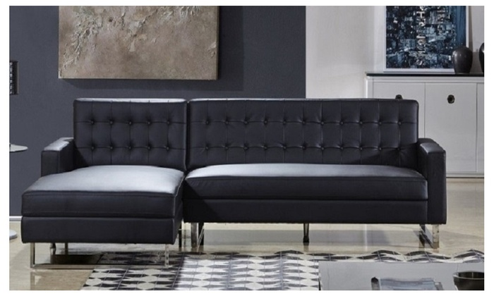 Polonne Sectional Sofa Upholstered In Pu Leather Or Fabric