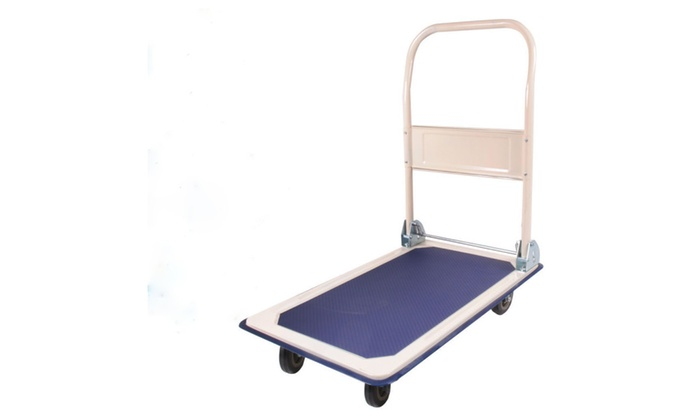 150KG Bearing Trolley Folding Flat Cart Creamy White & Dark Blue