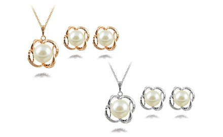KATGI Fashion White Pearl Pendant Necklace and Earrings Set