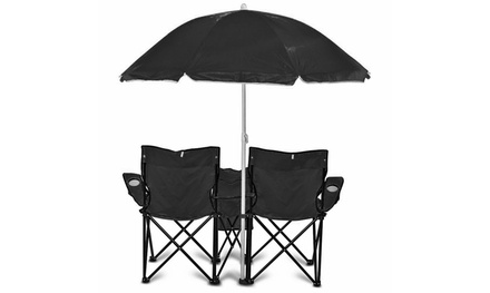 GoTeam Portable Double Folding Chair w/Removable Umbrella, Cooler Bag