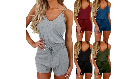 Summer fashion women's sling jumpsuit  Rompers drawstring waist One Piece Suits
