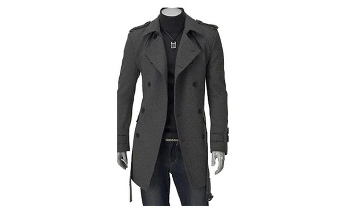 Men's Double Stylish Breasted Trench Coat Long Jacket