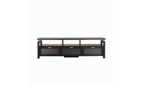 """Darlin Espresso Glass Panel Open Shelf 70"""" Media Stand eb4e55e7-556d-492b-9416-5ad8aab2d924"""