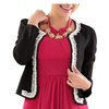 Women's Slim Short Studded Lace Open Front Knit Blazer Jacket
