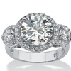 4.90 TCW CZ Ring in Platinum over Sterling Silver