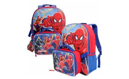 "Marvel Spider-Man Spiderman Backpack with Lunch Bag Lunchbox 16"" Large 0ca00287-a5f2-4fee-b62f-c9a046bc6b29"
