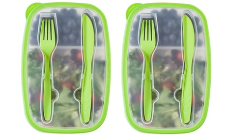 Set of 6 Plastic Bento Lunch Box - Food Storage Containers with Cutlery Set