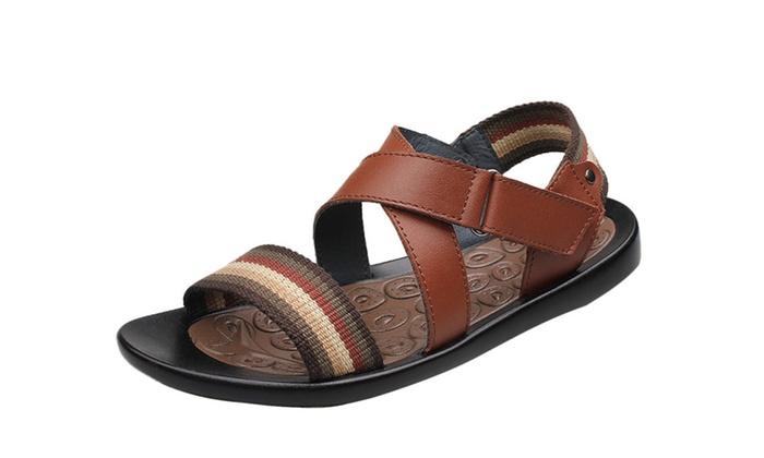 Men's Roman Leather Cross Strap Sandal
