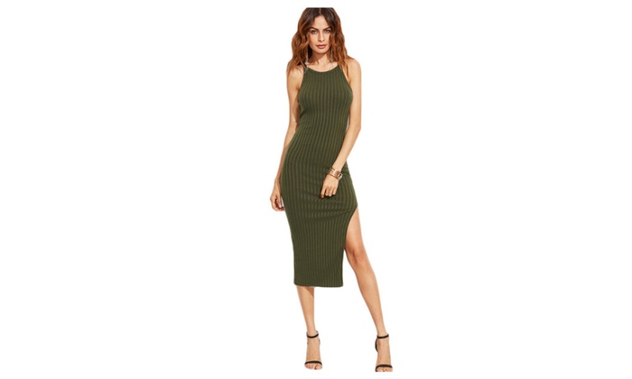 Women Fall Fashion Designer Side Slit Ribbed Cami Dress