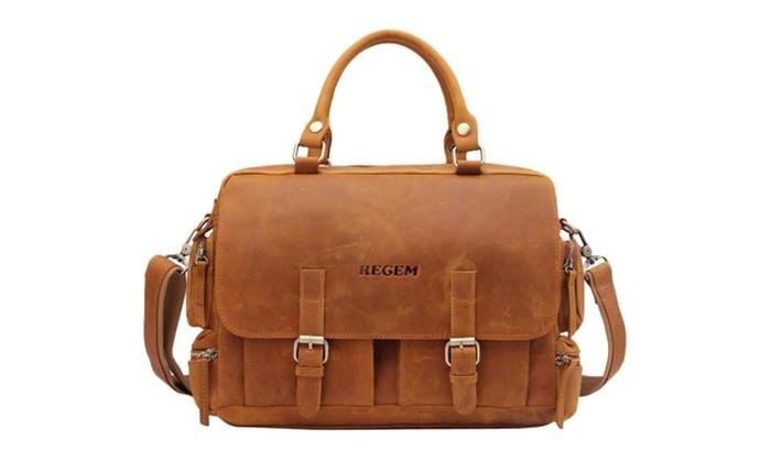 Men's Leather Briefcase Top-handle Shoulder Bag
