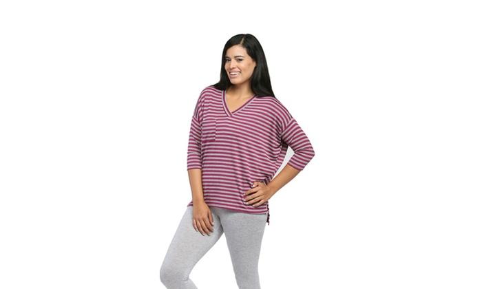 247 Comfort Apparel Women's Magneta Striped Dolman Top