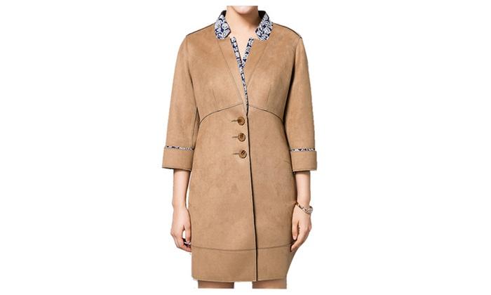Shefetch Women's Lappel Collar 3/4 Long Sleeve Mid Coat