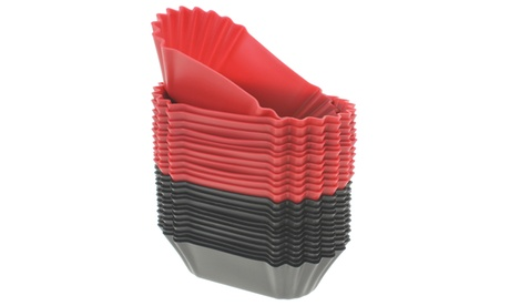 Freshware 24-pack silicone jumbo rectangle baking cup, red and black 97ec0ab4-35d2-475f-9a25-f71e204074bd