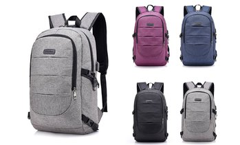 Anti-Thief Business Laptop Backpack with USB Charging Port Travel School Bag