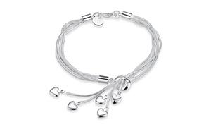 Dangling Five Heart Charm Bracelet in Sterling Silver Plating