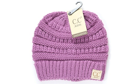 CC Beanie Kids Kint Beanie Mix Trendy Simple Winter Solid Cable Hat