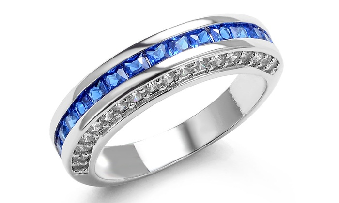 186e7bd31 Up To 62% Off on Lab- Created Princess Cut Blu... | Groupon Goods