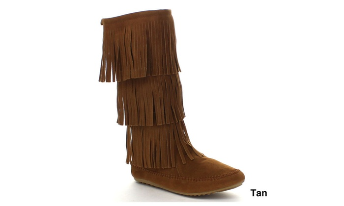 NATURE BREEZE CHEROKEE-03 Comfort Moccasin Fringe Slip On Flat Boots