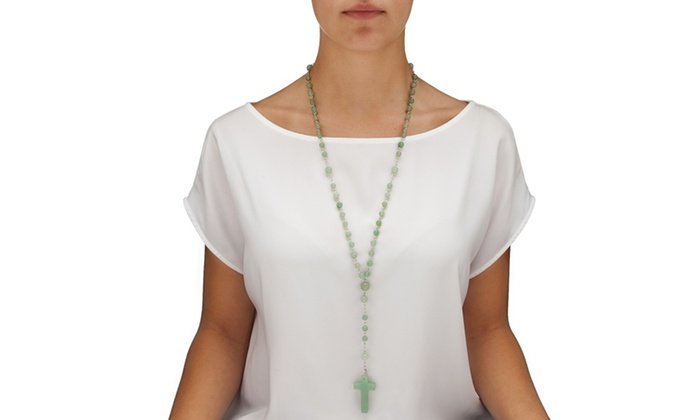 Disc Round Genuine Green Agate Silvertone Rosary Bead