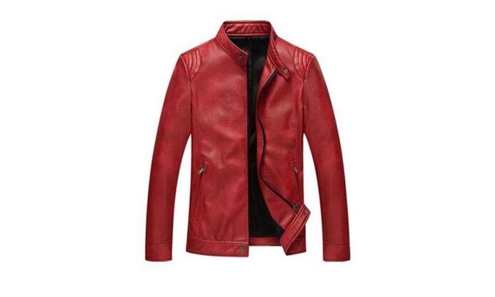 Men's PU Leather Zip-up Stand Collar Moto Jacket