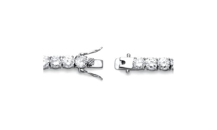 ... 27 TCW Round Cubic Zirconia Tennis Bracelet Platinum Plated ...