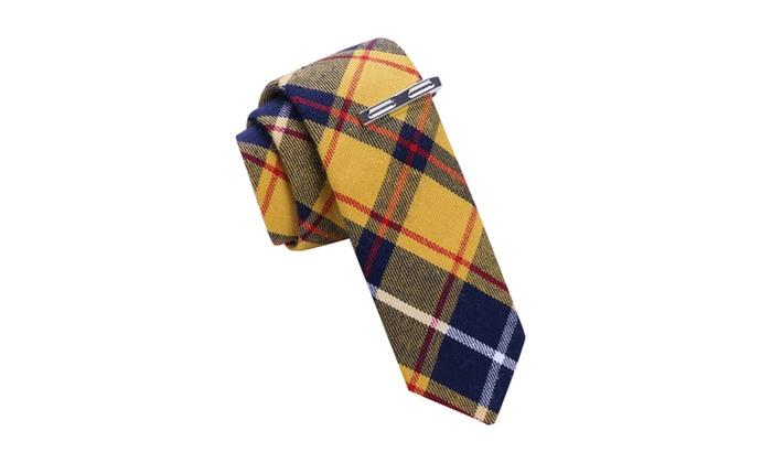 Skinny Tie Madness Yellow Tie with Tie Bar