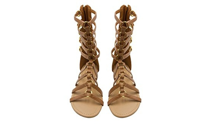 17f7fbd9ed2 ... Sara Z Womens Tall Side Buckle Back Zip Flat Gladiator Sandal ...
