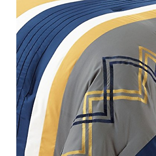 Arden 7-Piece Gray Navy Yellow Pleated Stripe Zigzag Embroidery Comforter Set