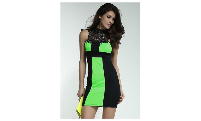 Women's Charming Embroidered Neck Black and Green Mini Dress