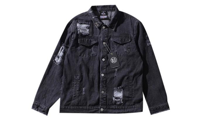 Men's Regular Fit Printed Fashion Buttons Up Denim Jacket