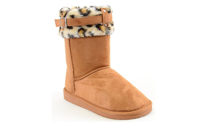 Leopard Cuff Furry Buckle Vegan Suede Flat Warm Women's Boots