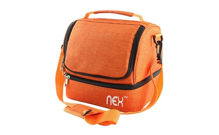 Nex Lunch Bag Double Cooler Carry Bag with Adjustable Shoulder Strap 8226f5c9-842d-490b-9807-20cf6a04b9df