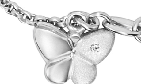"Diamond Accent Girls Charm Bracelet in Sterling Silver 6.25"" Long f1251cdc-8367-445f-92e2-f00a43d4a1d3"