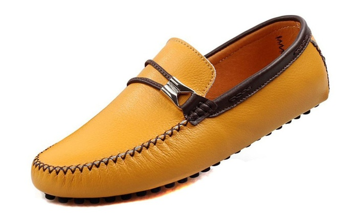 DSB Men's Driving Shoes Flat Leather Slipper Casual Slip On Loafers
