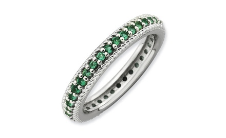 IceCarats Designer Jewelry Sterling Silver Stackable Expressions Polished Created Emerald Eternity Rin