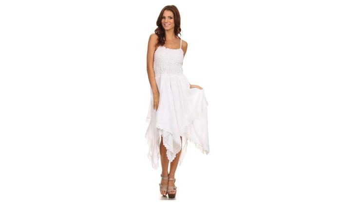Sakkas Ella Smocked Bodice Spaghetti Strap Double Layered Dress