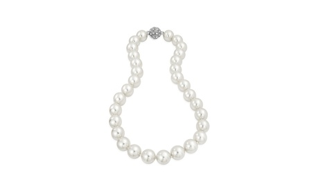 Bling Jewelry Crystal White Simulated Pearl Necklace Rhodium Plated 71db8450-5f82-4dc2-b8c1-d7d2422be43a