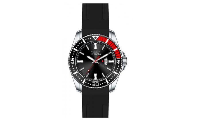 Allurez com: Invicta 21445 Black Dial Pro Diver Quartz 3 Hand Mens Watch