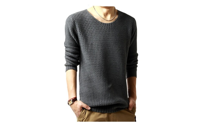 Mens Casual Solid Knitted Pullover Sweater