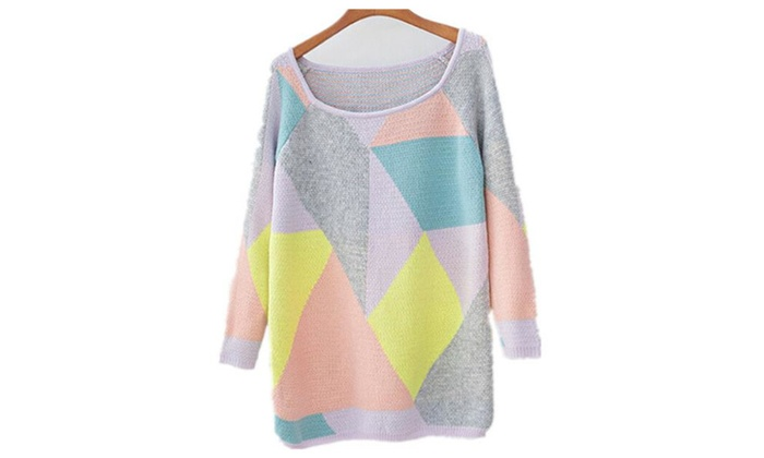 Women Winter Casual Geometric Knit Pullover Shift Sweater Knitwear