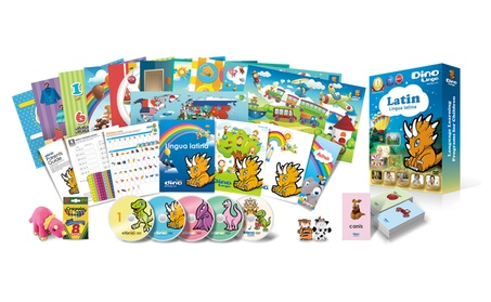 Latin for Kids Deluxe set, 5 DVD set, Flashcard set, Books and Posters