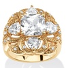 3.94 TCW CZ Clover Motif Ring 18k Gold-Plated