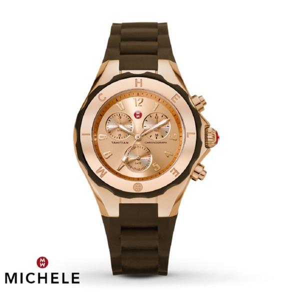 aeff6b8340d27 Women s Michele Tahitian Jelly Bean Brown Rose Gold Watch MWW12F000060