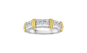 "1/2 CTW Ladies ""X"" band in 14K Gold and Silver (two tone)"