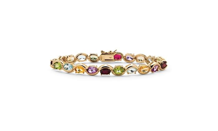 19 Tcw Genuine Gemstone And Diamond Accent Tennis Bracelet