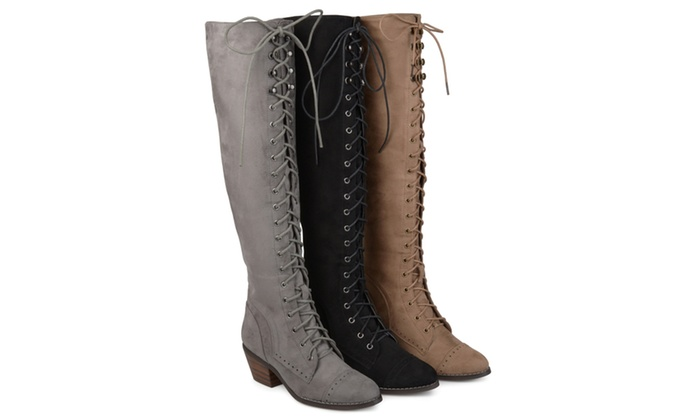 bf6a92c830c Journee Collection Womens Wide Calf Brogue Lace-up Over-the-knee Boots