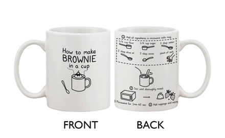 Cute Ceramic Coffee Mug - How to Make Brownie in a Cup - Cute Recipe Mug - Cute Gifts Ideas