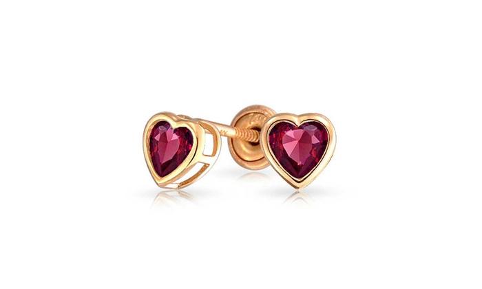 034c88f5f Heart Shaped 14K Gold Screwback Stud Earrings for Baby Girl Kids  Alexandrite CZ